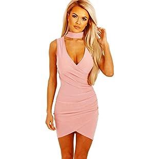 Janly Sexy Woman Bodycon Pack Hip Dress Choker V Neck Sleeveless Dresses Mini Sundresses (pink, L):Maskedking