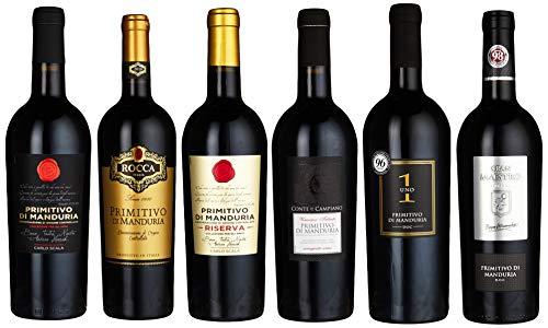 Probierpaket Primitivo di Manduria DOC Weinpaket mit italienischem Rotwein Perfektes Tasting-Set trocken (6 x 0.75 l)
