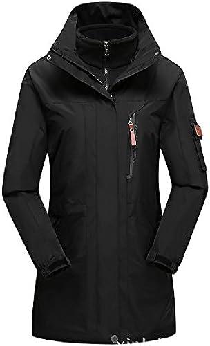 FYM Vestes DYF Ski Hommes Femmes Down veste Coat Couleur Unie Grande Taille Manches Longues col,W-noir,5XL