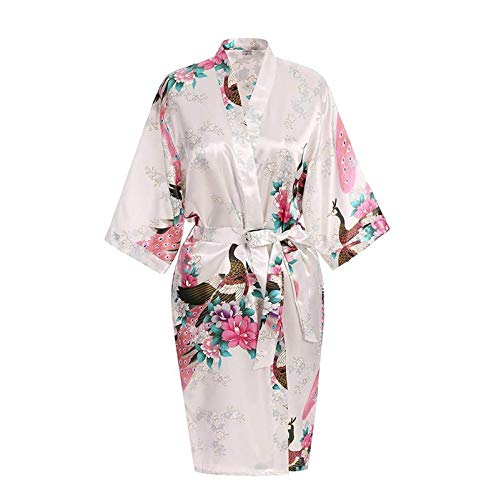TingLiao Sexy Bademantel, bedruckt, Blume, Pfau, Nachtwäsche, Satin, Kimono,...