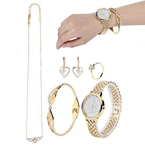 Conjunto de joyas collar pendientes colgantes pulsera conjunto de reloj para mujer para boda fiesta joyería pendientes pulsera conjunto de regalo joyería reloj de pulsera pendientes