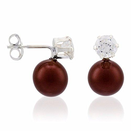 Córdoba Jewels |Pendiente de plata de Ley 925 con diseño Zircone Perle Bordeaux con dos zirconitas de 5mm.ydos perlas tahití de 8mm. Largo 13mm.