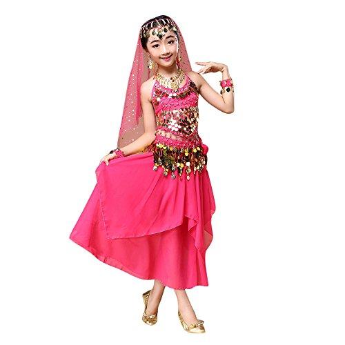 Feixiang Disfraz de Danza del Vientre para niños Vestido Tops + Falda de niñas Ropa de niños Vestidos para niños Disfraces de Danza del Vientre Trajes de Danza India