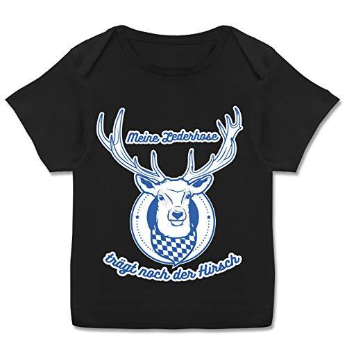 Oktoberfest Baby - Meine Lederhose trägt noch der Hirsch Rauten - 80-86 - Schwarz - Baby mädchen 74 - E110B - Kurzarm Baby-Shirt für Jungen und Mädchen