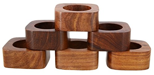 Shalinindia Handmade Party Decor Wooden Napkin Rings Set of 6 for Table Dinner Decoration