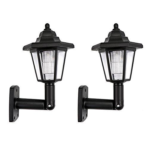 ONEVER Solar Vintage wandlamp Outdoor | Led zeskant wandlamp | Wandmontage | Tuin omheining erf decoratieve lampen | Waterdicht koel wit | verpakking van 2 stuks