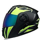 Casco de Motocicleta Abatible Integrado Cascos modulares de Moto de Visera Doble con Visera Completa para Hombres y Mujeres Adultos Dot/ECE Homologado (Color : Yellow B, Size : L/Large 59-60cm)