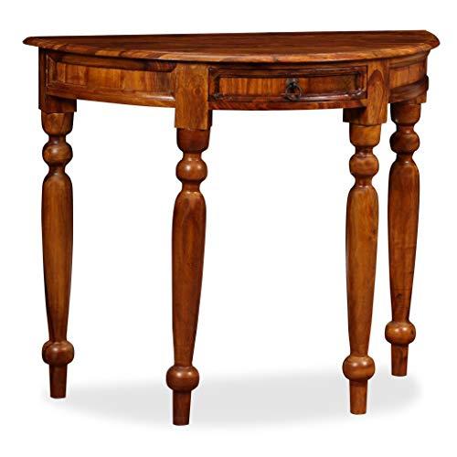 Festnight Konsolentisch aus Massives Sheesham-Holz Halbrund Beistelltisch Holztisch 90 x 40 x 76 cm