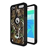iPod Touch 6 Case,iPod Touch 5 Case,Spsun Dual Layer Hybrid Hard Protector Cover Anti-Drop TPU Bumper for Apple iPod Touch 6th/5th Generation,Deer Hunting Camo