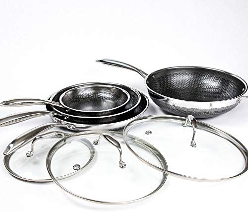 Hexclad Hybrid Nonstick Commercial Cookware 7 Piece Set with Lids and Wok Metal Utensil Safe product image