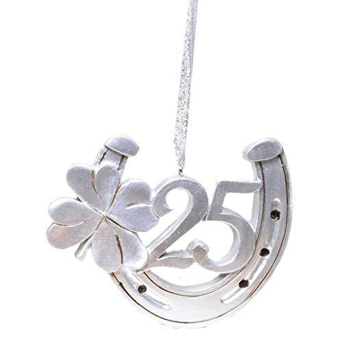 Hufeisen und Kleeblatt mit der Zahl 25 zum Hängen sehr massiv 12 cm groß Glücksbringer zur Silbernen Hochzeit Dekoration zur Silberhochzeit Geburtstag Jubiläum Party oder andere Anlässe
