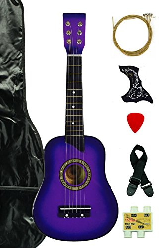 Purple Acoustic Toy Guitar for Kids with Carrying Bag and Accessories & DirectlyCheap(TM) Translucent Blue Medium Guitar Pick