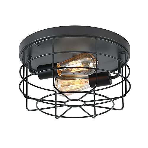 Deamakk 2-Light Industrial Semi Flush Mount Ceiling Light, Rustic Vintage Metal Cage Ceiling Light, E26 Pendant Lighting Fixture for Kitchen Garage Hallway Bedroom Living Room. Matte Black Finish.