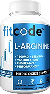 Fitcode Pure Extra Strength L-Arginine HCl 1500mg Nitric Oxide Supplement for Vascularity, Pumps, Endurance, Performance, Muscle Growth & Energy, Powerful Arginine N.O Muscle Pump Capsules 50 Serving