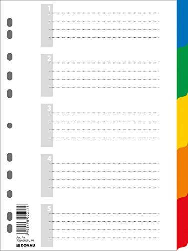 DONAU Register / Trennblätter aus Buntem stabilem Öko PP DIN A4 225x297mm, Verschiedene Farben, Mehrfarbig, 11-fach gelocht, für die Ordner-Organisation im Büro
