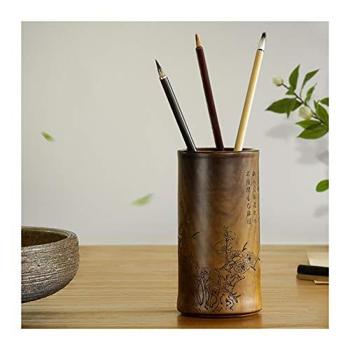 kaijunshop Soporte para bolígrafos de madera natural para bolígrafos multifuncional, soporte para bolígrafos, organizador de escritorio