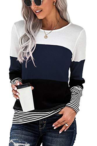 FANGJIN Oberteile Damen winterkleid Damen T-Shirt Blusen Longsleeve Damen Pullunder Damen Herbst Kleidung Damen Strickkleider für Damen Superdry Damen t Shirt Waffel Navy XL