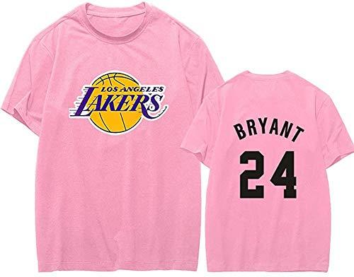 Herren Damen Trikot - 24# Bryant Trikots Atmungsaktives Swingman Basketball Trikot Retro Gym Weste Sport Top-Pink C_M.