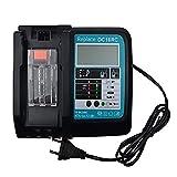 DC18RC 14.4V 18V 3A Cargador de batería Reemplazar para Makita BL1840 BL1820 BL1830 BL1440 BL1450 Reemplazo de batería para DC18RC DC18RA Cargador con pantalla LED, puerto USB (sin ventilador dentro)