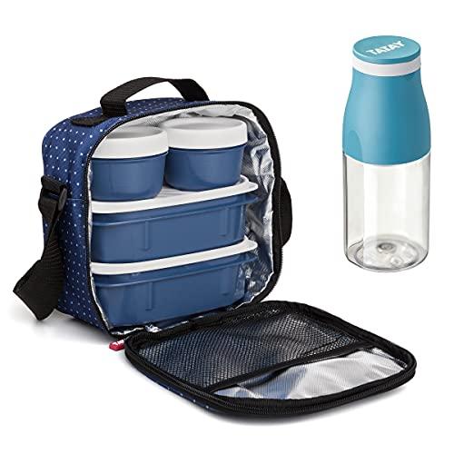 PracticFood Kit Urban Food Casual - Bolsa Térmica Porta Alimentos con Tapers Herméticos (Drink Dots Azul)
