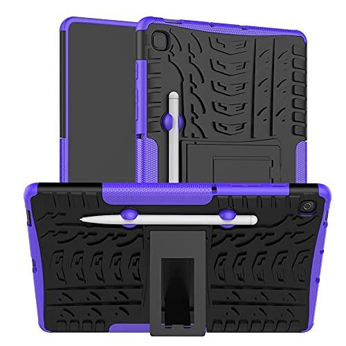 ZHIWEI Tablet PC Bag Coperchio da Tablet per Samsung Galaxy Tab S6 Lite / P610 / P615 Texture Pneumatici TPU Antiurto TPU + Custodia Protettiva PC con Supporto per Manico Pieghevole (Color : Purple)