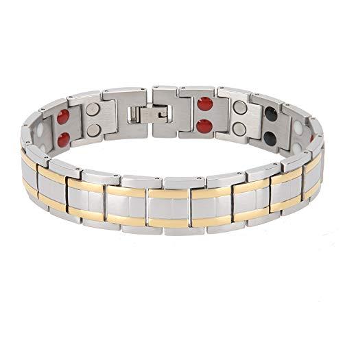 Duevin Herren Titanstahl Armband, Edelstahl Armband Gesundheit Magnetarmband Schmuck das den Schlaf Verbessert Stress Abbaut
