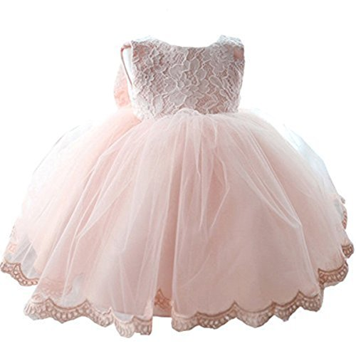 NNJXD Girls' Tulle Flower Princess Wedding Dress for Toddler and Baby Girl Pink 12-18 Months