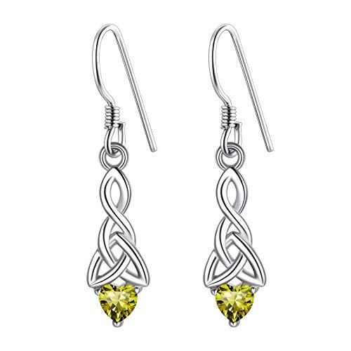925 Sterling Silver Irish Knot Earrings For Women, August Birthstone Dangle Earrings, Peridot Dangling Earrings, Celtic Heart Dangle Earrings