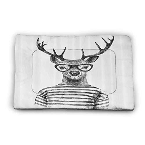 Ahuimin Dog Bed Mat Dressed Up Deer Reindeer Headed Human Hipster Style with Glasses Striped Shirt Design Comfy Pet Washable Mat Blanket 35' x 23' Black White