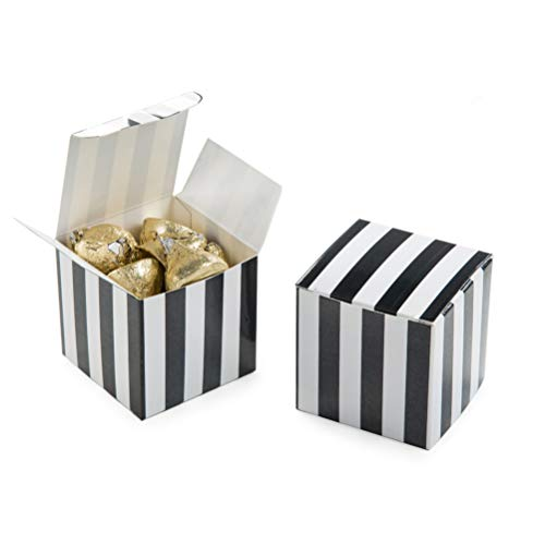 AWELL Small Candy Box Bulk 2x2x2 inch, Black White Stripes Box Party Favors Pack of 50