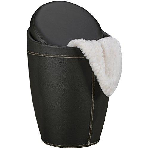 AMSTYLE Wasmand LUCY kleur zwart kruk met functie badkruk bekleding kunstleer kruk 100 kg