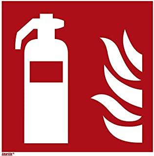 Fire Extinguisher Sticker, photoluminescent 8 x 8 inches fire Protection Sign, ISO 7010 [F001], Pack of 1