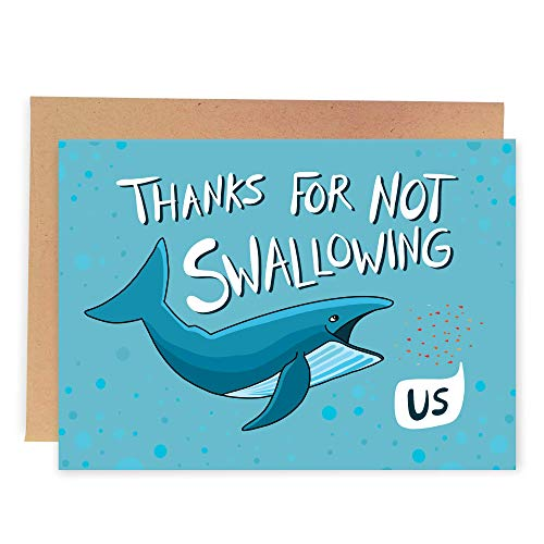 Sleazy Greetings Funny Birthday Mother's Day Card For Mom From Daughter Son Dirty Joke | Thanks For Not Swallowing Us Whale Card