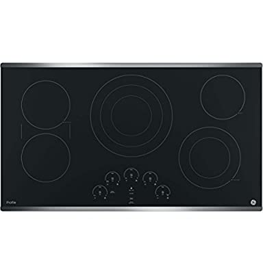 """GE PP9036SJSS 36 Inch Electric Cooktop with 5 Radiant, Bridge SyncBurners, 6""""/9""""/12 Inch Tri-Ring, 5""""/8 Inch Power Boil Element, Red LED Touch Controls, ADA Compliant Fits Guarantee"""