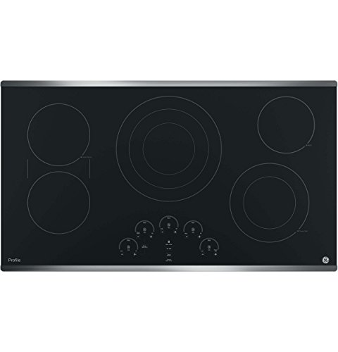 GE PP9036SJSS 36 Inch Electric Cooktop with 5 Radiant, Bridge SyncBurners, 6'/9'/12 Inch Tri-Ring,...