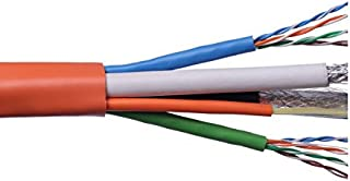 Structured Wire Cable with Fiber Optic Cabling Voice Video Data Wire Cables 2 Cat 5e + 2 RG6/U Quad + 2 FDD/Fiber Overall Orange Jacket Riser Rated 500FT Spool