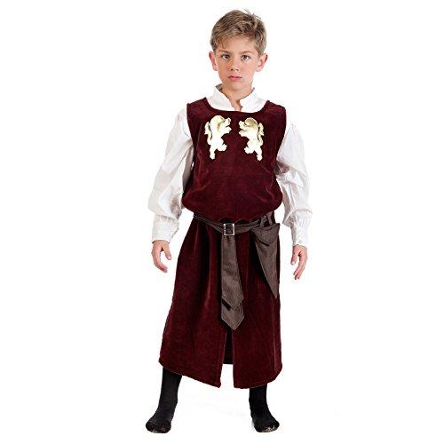 Elbenwald Escudero Medieval Disfraz Infantil levita con Camisa Rojo - 3/5 Jahre