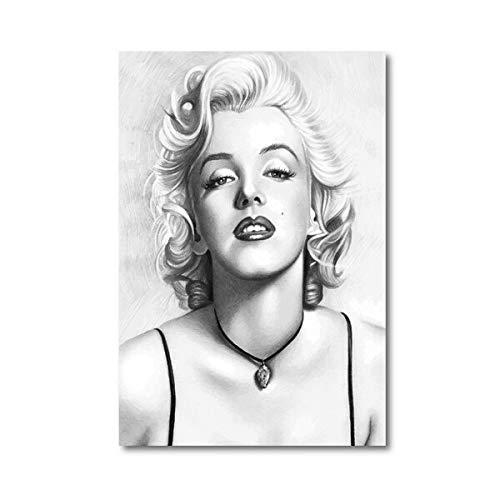 Schwarzweiss-Fotografie-Plakat-Mode-Illustrations-Wandkunst-Bild-Leinwand-Malerei-Hauptwanddekoration 50x70cm