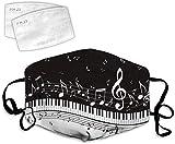 YeeATZ Notas musicales cómodas, ajustables, decoración de impresión 3D, antipolvo, con 2 filtros...