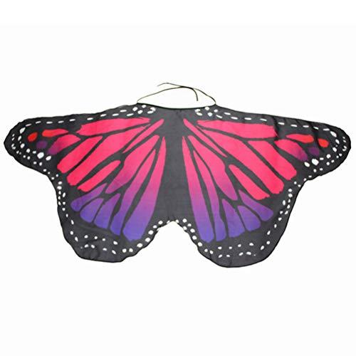 Capa de tela suave de macabolo, alas de mariposa, chal de hada y mariposa, para disfraz para niños y niñas Rojo Rosa Roja M