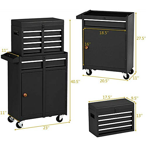 5-Drawer Tool Chest Tool Box,Rooling Tool Chest with Wheels,Tool Cabinet with Lock,4 Movable Rollers Tool Chest with 5 Drawers,Large Capacity Tool Storage for Garage, Warehouse. (TOOLBOX Black)