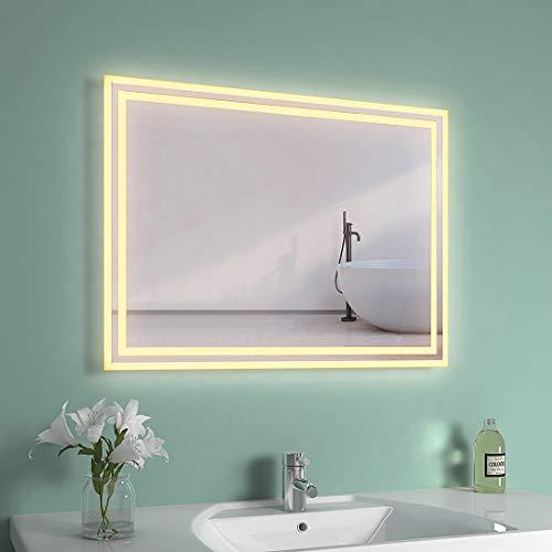 EMKE LED Badspiegel 80x60cm Badspiegel mit Beleuchtung Warmweiß Lichtspiegel Badezimmerspiegel Wandspiegel IP44 energiesparend