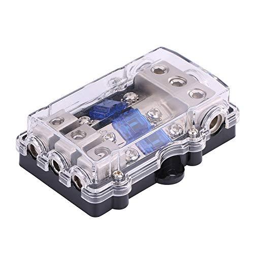 Caja de fusibles para automóvil, Universal 60A Car Auto Vehículo Estéreo Audio Power Fuse Box Holder Block 1 en 3 salidas 12V-24V