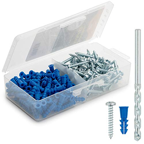 Ribbed Plastic Drywall Anchor Kit with Screws and Masonry Drill Bit, 10-12 x 1'