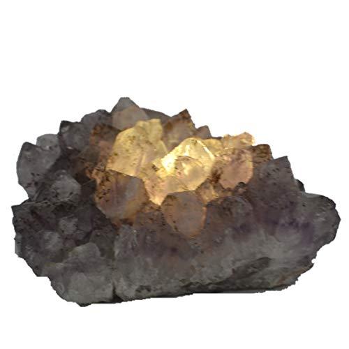 Amethyst Stein Teelicht-Halter | Echter natürlicher lila Kristall | Amethyst Drusen-Stück Kerzenhalter | Edelstein Stimmungslicht, Geschenk und Deko N122