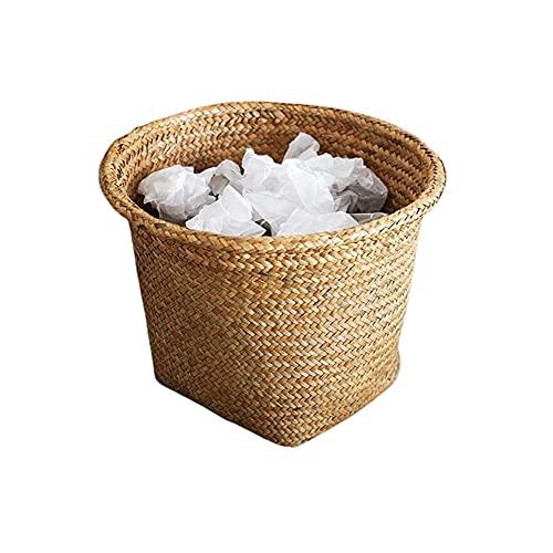 Wardell Cesta Redonda De Residuos Tejidos Mimbre Cubo De Basura Rústico Retro para Cocina Baño Oficina Sala De Estar 26x26x26cm