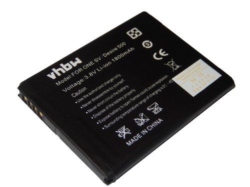 Batteria vhbw 1800mAh per Smartphone HTC One SV Desire 500 C520e come BA-S890 BM60100 35H00202-02M 35H00202-03M 35H00201-04M 35H00201-16M.