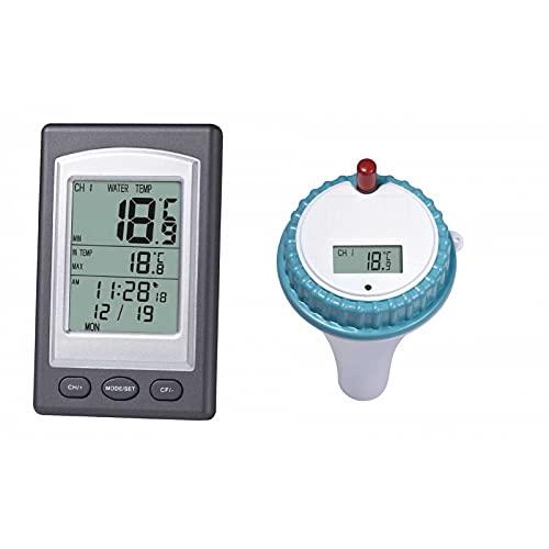 JSYL Termometro Galleggiante per Acqua, Termometro Spa Wireless con Display LCD Digitale per Piscine...