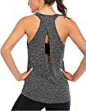ICTIVE Women's Cross Back Yoga Shirt Backless Workout Tops for Womens Racerback Tank Tops Open Back Running Muscle Tanks Workout Tank Tops for Womens Loose fit Yoga Tops Active Tanks Gray L