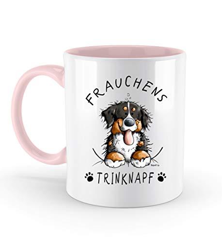 Shirtee Frauchens Trinknapf Berner Sennenhund - Zweifarbige Tasse -330ml-Powder Pink